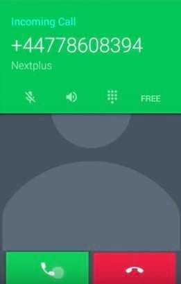 Звонок в окне Nextplus