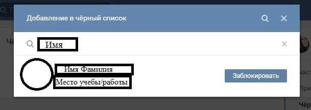 Добавление в черный список: внесение данных пользователя